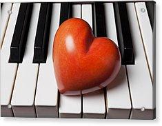 Red Stone Heart On Piano Keys Acrylic Print by Garry Gay