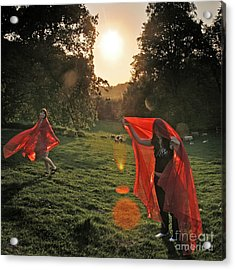 Red Witches Dance Acrylic Print by Angel  Tarantella