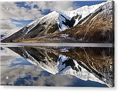 Reflection In Lake Pearson, Castle Hill Acrylic Print by Colin Monteath