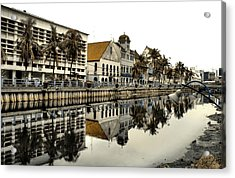 Reflection Of Old Buildings Acrylic Print by Aris and Ressy