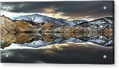 Reflections Of Cliffs On Blue Lake St Bathans Acrylic Print by Colin Monteath