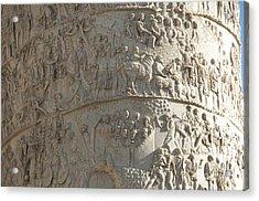 Relief. Detail View Of The Trajan Column. Rome Acrylic Print by Bernard Jaubert