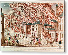 Representation Of The Terrible Fire Of New York Acrylic Print by French School
