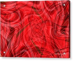 Ribbons Of Red Abstract Acrylic Print by Carol Groenen
