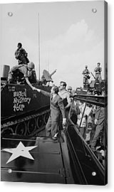 Richard Nixon Shaking Hands With Armed Acrylic Print by Everett