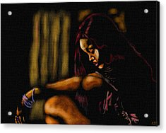 Rihanna Acrylic Print by Anthony Crudup