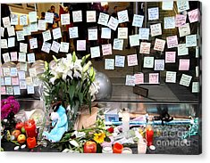 Rip Steve Jobs . October 5 2011 . San Francisco Apple Store Memorial 7dimg8574 Acrylic Print by Wingsdomain Art and Photography