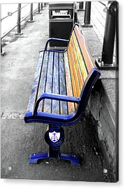 Benches Acrylic Print featuring the photograph River Bench by Roberto Alamino