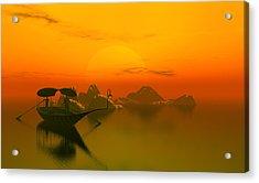 River Sunset Acrylic Print by John Junek