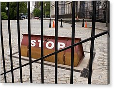 Road Blocker At New York City Hall. Acrylic Print by Mark Williamson