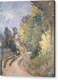 Road Turning Under Trees Acrylic Print by Paul Cezanne