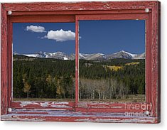 Rocky Mountain Autumn Red Rustic Picture Window Frame Photos Art Acrylic Print by James BO  Insogna