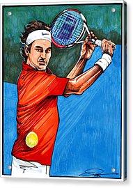 Roger Federer Acrylic Print by Dave Olsen