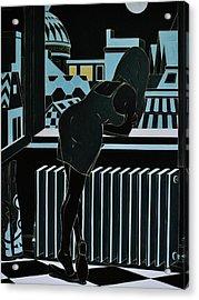 Roofs Of Antwerpen At Night Acrylic Print by Varvara Stylidou