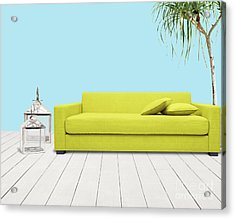 Room With Green Sofa Acrylic Print by Atiketta Sangasaeng