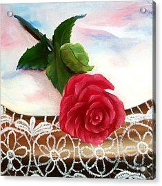 Rose And Lace Acrylic Print by Joni McPherson