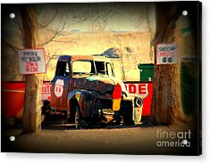 Route 66 Parking Lot Acrylic Print by Susanne Van Hulst