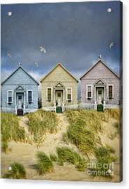 Row Of Pastel Colored Beach Cottages Acrylic Print by Jill Battaglia