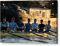 Rowers At Sunset Acrylic Print by Andrew  Michael