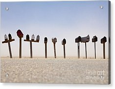 Rows Of Mailboxes And Desert Dust Acrylic Print by Paul Edmondson