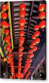 Rows Of Red Chinese Paper Lanterns - Shanghai China Acrylic Print by Christine Till