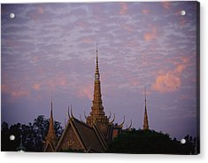 Royal Palace Rooftop At Dawn, Phnom Acrylic Print by Steve Raymer