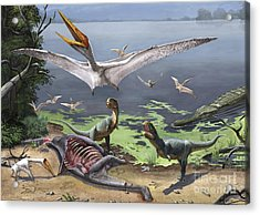 Rugops Primus Dinosaurs And Alanqa Acrylic Print by Sergey Krasovskiy