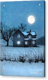 Rural Farmhouse Under Full Moon Acrylic Print by Jill Battaglia