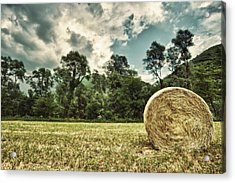 Rural Landscape With Hay Bale Acrylic Print by sisifo73photography by Marco Romani