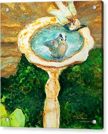 Rustic Birdbath Acrylic Print by Jan Moore