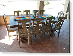 Rustic Table For Outside Living Room Acrylic Print by Thor Sigstedt