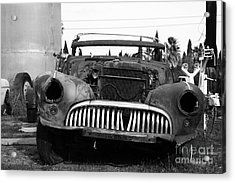Rusty Old American Car . 7d10343 . Black And White Acrylic Print by Wingsdomain Art and Photography