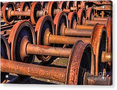 Rusty Railroad Car Wheelsets Acrylic Print by Clarence Holmes