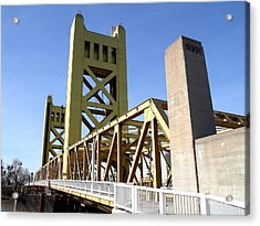 Sacramento California Tower Bridge Crossing The Sacramento Delta River . 7d11553 Acrylic Print by Wingsdomain Art and Photography