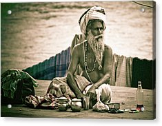 Sadhu At Ganges Acrylic Print by John Battaglino