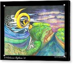Sage Moon Acrylic Print by Rebecca  Stephens