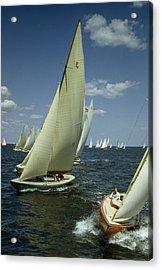 Sailboats Cross A Starting Line Acrylic Print by B. Anthony Stewart