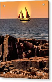 Sailing In Grand Marais Acrylic Print by Bill Tiepelman