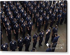 Sailors Stand At Attention During An Acrylic Print by Stocktrek Images