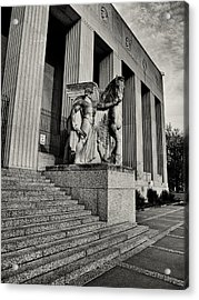 Saint Louis Soldiers Memorial Exterior Black And White Acrylic Print by Joshua House