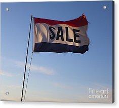 Sale Flag In The Wind Acrylic Print by Paul Edmondson