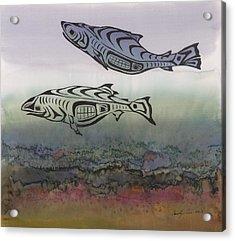 Salmon Stream Acrylic Print by Carolyn Doe