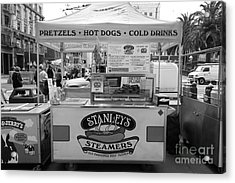 San Francisco - Stanley's Steamers Hot Dog Stand - 5d17929 - Black And White Acrylic Print by Wingsdomain Art and Photography