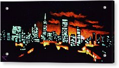 San Francisco Black Light Acrylic Print by Thomas Kolendra