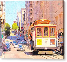 San Francisco Cablecar Coming Down Powell Street Acrylic Print by Wingsdomain Art and Photography