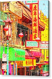 San Francisco Chinatown Shops Acrylic Print by Wingsdomain Art and Photography