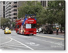 San Francisco Double Decker Tour Bus On Market Street - 5d17851 Acrylic Print by Wingsdomain Art and Photography