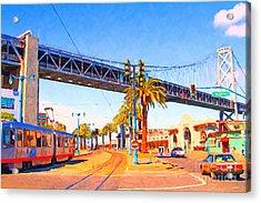 San Francisco Embarcadero And The Bay Bridge Acrylic Print by Wingsdomain Art and Photography