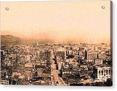 San Francisco Skyline 1909 . Ferry Building And Alcatraz Acrylic Print by Wingsdomain Art and Photography