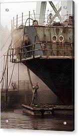 Sandblasters Restore A Soviet Ship Acrylic Print by Cotton Coulson